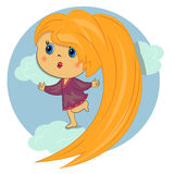 Sweet girl in sky.beautiful kid. Sweet girl in sky. beautiful red hair kid Royalty Free Stock Photos