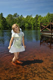 Sweet girl summer portrait. Sweet girl in summer Swedish lake Royalty Free Stock Photo