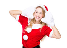Sweet girl with Xmas dressing Royalty Free Stock Image