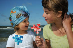 Sweet girls with lollipop Stock Photography