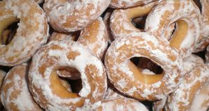 Sweet glazed bagels. View on sweet glazed bagels royalty free stock images