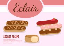 Sweet glazed eclair with cream, chocolate, royalty free stock photo