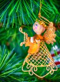 Sweet golden Angel Christmas tree decoration stock images