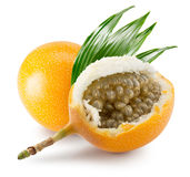 Sweet granadilla or grenadia isolated on the white background Stock Photo