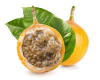 Sweet granadilla or grenadia isolated on a white background.  Royalty Free Stock Images