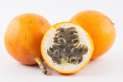 Sweet granadilla Passiflora ligularis. Isolated in white background Stock Images