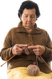 Sweet grandmother knitting Royalty Free Stock Photography