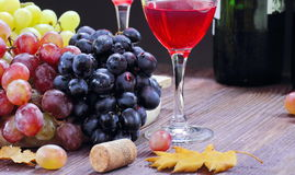 Sweet grape of different kinds and red wine Stock Photos