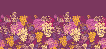 Sweet grape vines horizontal seamless pattern. Vector sweet grape vines horizontal seamless pattern background ornament with hand drawn fruit and leaves stock illustration