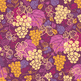 Sweet grape vines seamless pattern background. Vector sweet grape vines seamless pattern background with hand drawn fruit and leaves royalty free illustration