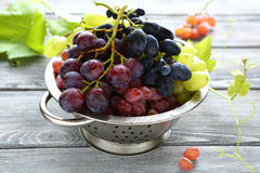 Sweet grapes in colander Stock Photography