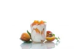 Sweet Greek yogurt with apricots Royalty Free Stock Photo