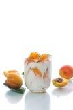 Sweet Greek yogurt with apricots Stock Image
