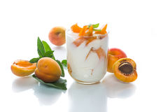Sweet Greek yogurt with apricots Royalty Free Stock Photography