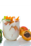 Sweet Greek yogurt with apricots Stock Images
