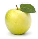 Sweet green apple with  leaf Royalty Free Stock Photos
