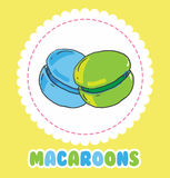 Sweet green and blue french macaroon cake. Biscuit dessert Stock Image