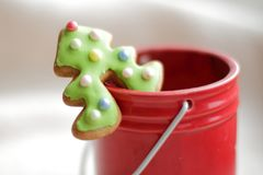 Christmas tree cake, honey-cake decoration for cup Stock Images