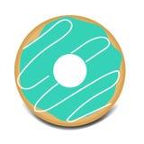 Sweet green glazed donut vector illustration