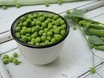 Sweet green peas in vintage cup. Royalty Free Stock Photography