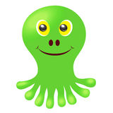Sweet, green, smiling monsters with yellow eyes. Vector image. Stock Photo