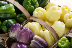 Sweet Green Yellow Purple Peppers In Baskets at Farmers Market Stock Images