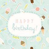 Sweet greeting Birthday card. Vector EPS 10 hand drawn cute illustration Stock Image