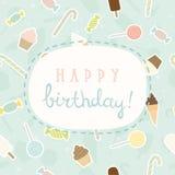 Sweet greeting Birthday card. Vector EPS 10 hand drawn cute illustration stock illustration