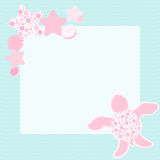 Sweet greeting card with turtle Stock Images