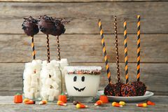 Cake pops with candy corns royalty free stock images