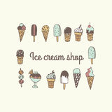 Sweet Hand drawn different kind of Ice cream. Stock Photos