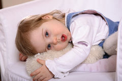 Sweet Handicapped Baby Girl Royalty Free Stock Images