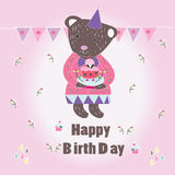 Sweet Happy Biryhday card with Bear Stock Images
