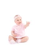 Sweet happy little girl reach one hand. Over white background Stock Photos