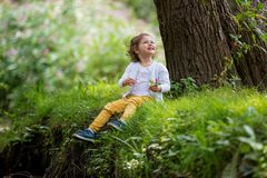 Sweet, happy little girl sitting on grass. Sweet, happy little girl sitting on a grass in a park at a spring stream with flower in hand. Laughing, enjoying fresh Stock Photo