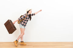 Sweet happy woman wearing travel clothing Royalty Free Stock Image