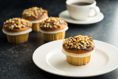 Sweet hazelnut muffin. Stock Photo