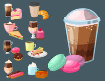 Sweet hazelnut muffins delicious cake coffee cup morning bakery dessert pastry fresh drink cappuccino vector Stock Photo