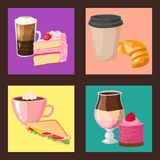 Sweet hazelnut muffins delicious cake coffee cup morning bakery dessert pastry fresh drink cappuccino vector Royalty Free Stock Image
