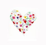 Sweet heart. Fun curvy love hearts in watercolor Royalty Free Stock Photography