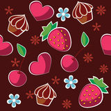 Sweet heart. Sweet dessert with cherry, strawberries and hearts Royalty Free Stock Images