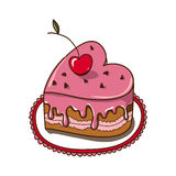 Sweet heart cake isolated on white. Stock Images