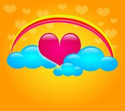 Sweet heart in clouds Royalty Free Stock Photos