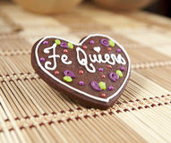 Sweet heart cookie with spanish text love Royalty Free Stock Photo