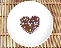 Sweet heart cookie with spanish text love Stock Photos