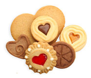 Sweet heart cookies. Isolated on white Royalty Free Stock Images
