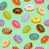 Sweet heart donuts texture. Vector striped background with donut cakes for birthday Royalty Free Stock Photo