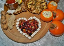 Sweet Heart of dried fruit - tea with spices, fruits and sweets Stock Photos