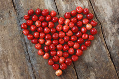 Sweet heart. The Heart of juicy cherries Stock Images