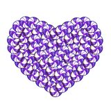 Sweet heart made of violet and white lollipops and candies. Isolated on white background. Vector illustration, clip art symbol of love for design Stock Image